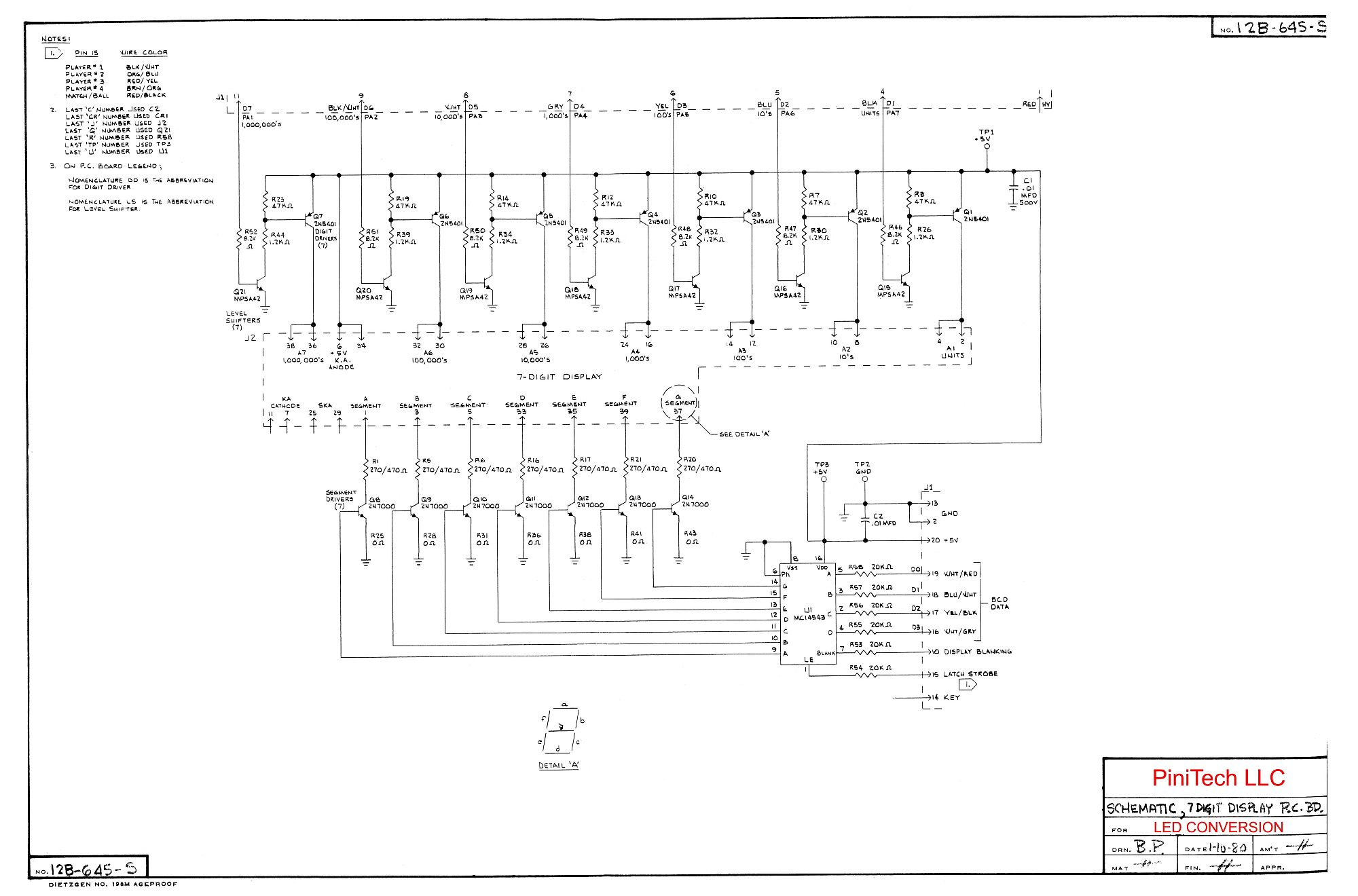 Classic Bally/Stern Display Schematics - Pinitech
